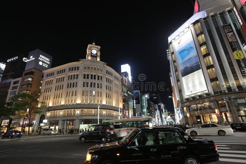 Ginza rozdroże przy nocą w Tokio obraz royalty free