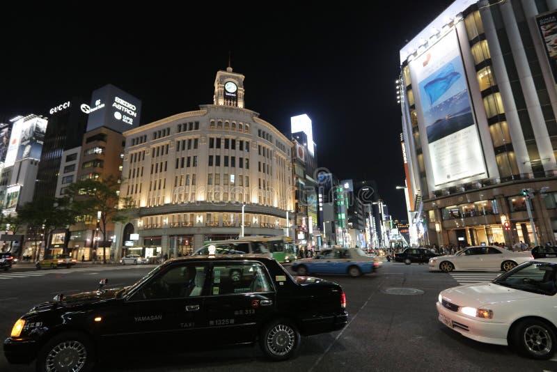 Ginza rozdroże przy nocą w Tokio obrazy stock