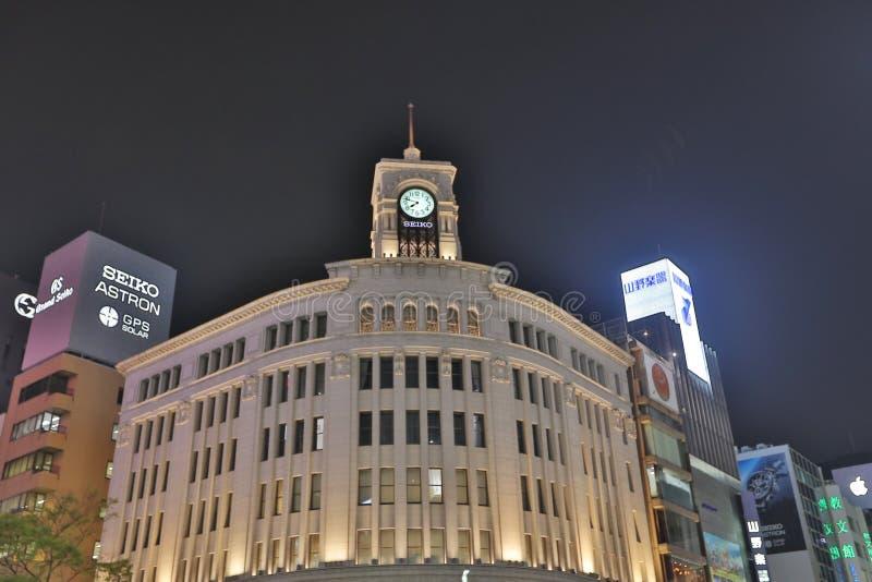 Ginza rozdroże przy nocą w Tokio zdjęcie royalty free