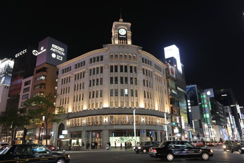 Ginza rozdroże przy nocą w Tokio zdjęcia royalty free