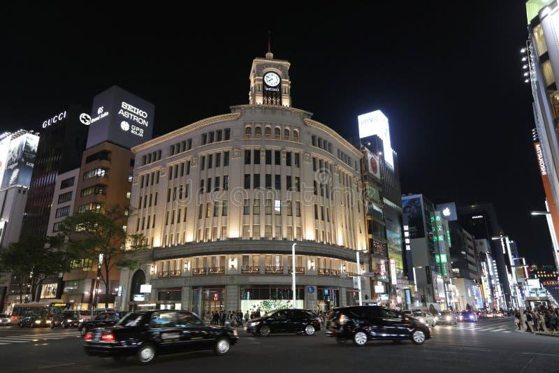 Ginza rozdroże przy nocą w Tokio zdjęcie stock