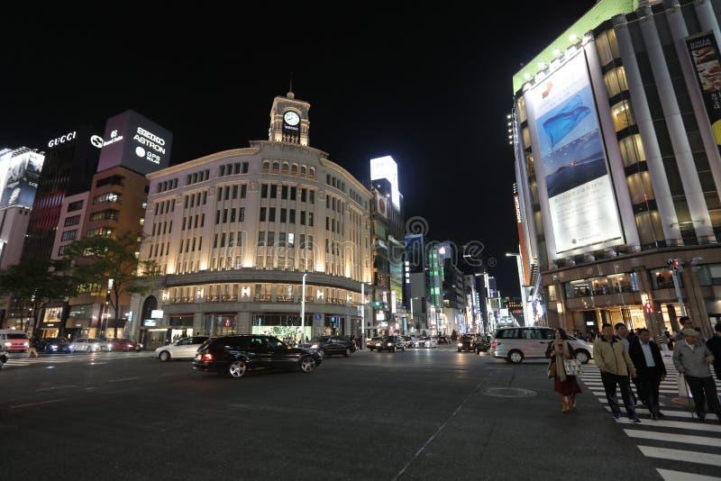 Ginza rozdroże przy nocą w Tokio zdjęcia stock