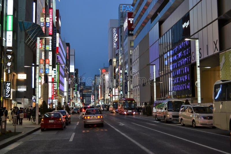 Ginza shopping High Street night stock image