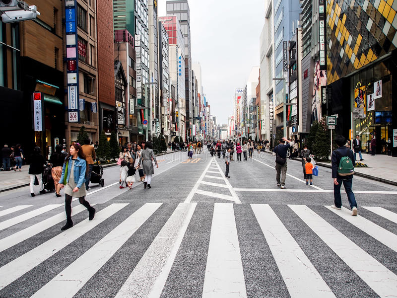 Download Ginza Walking Street, Tokyo, Japan 2 Editorial Stock Image - Image of asia, district: 31327729