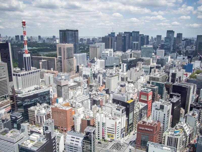 Ginza widok od Shiodome centrum miasta, Tokio, Japonia fotografia stock