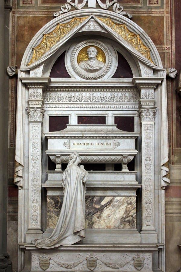 Gioacchino Rossini muzycy, szczegół grobowiec, Santa Croce katedra, Florencja obraz stock