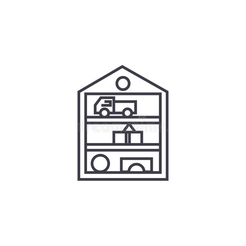 Gioca la linea l'icona, il segno, illustrazione di vettore del gabinetto su fondo, colpi editabili illustrazione vettoriale