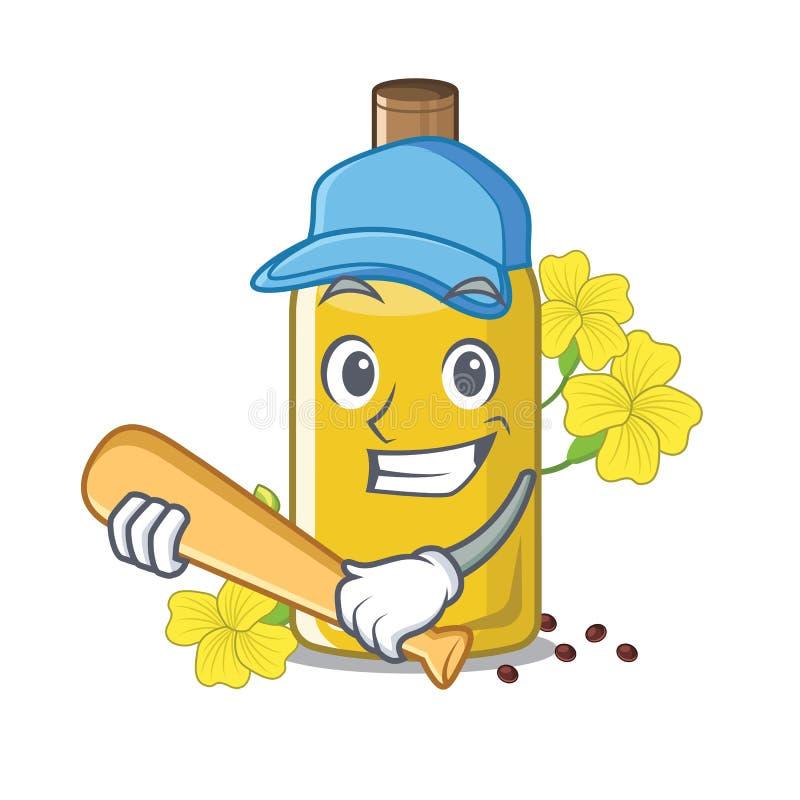 Giocando a baseball l'olio del canola isolato con il fumetto illustrazione di stock