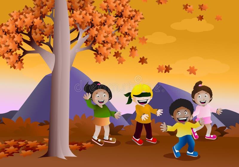 Giocando il pellame - e - cerchi il gioco in autunno illustrazione vettoriale