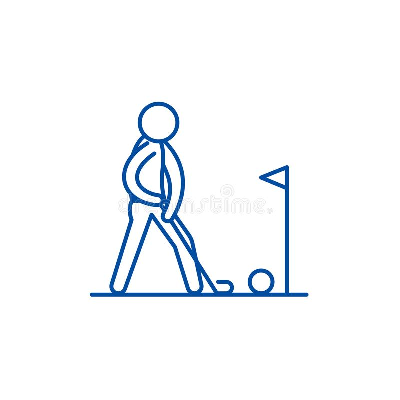Giocando la linea concetto di golf dell'icona Gioco del simbolo piano di vettore di golf, segno, illustrazione del profilo illustrazione vettoriale