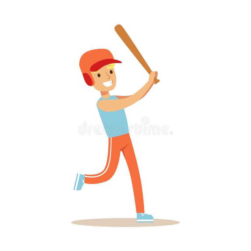 Giocar a baseballe, bambino del ragazzo praticanti gli sport e le attività fisiche differenti nella classe di educazione fisica illustrazione vettoriale