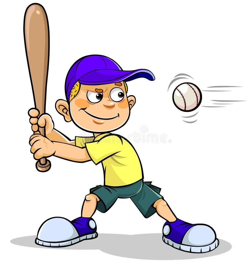Giocar a baseballe del ragazzo del fumetto illustrazione di stock
