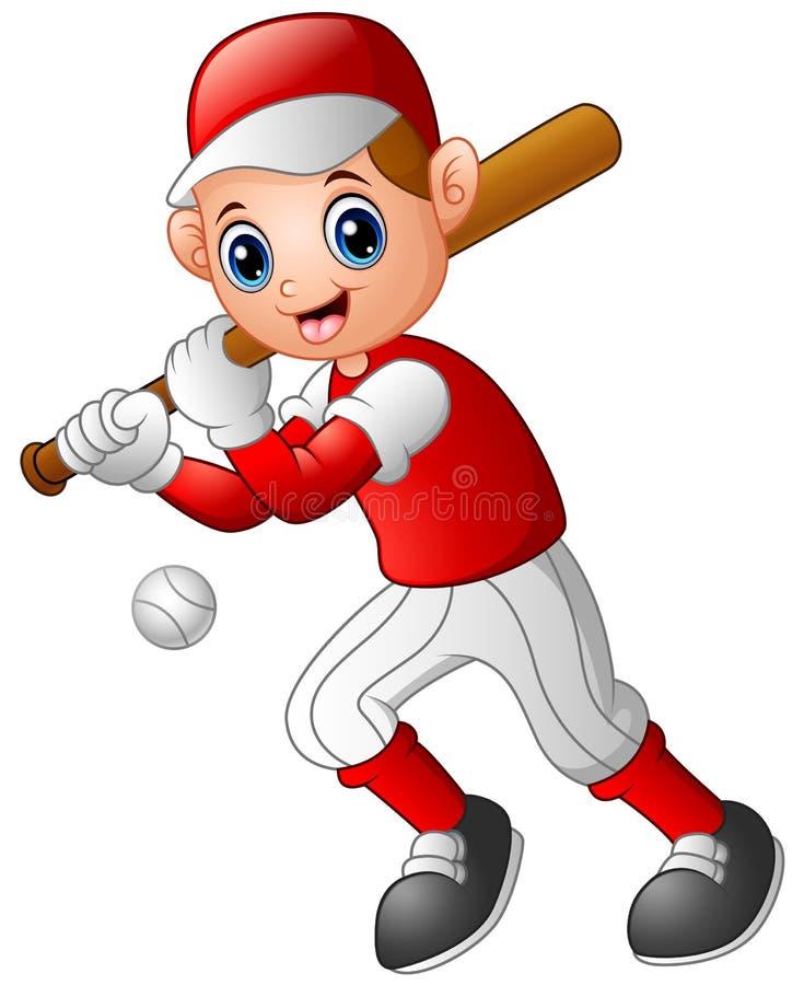 Giocar a baseballe del ragazzo del fumetto illustrazione vettoriale