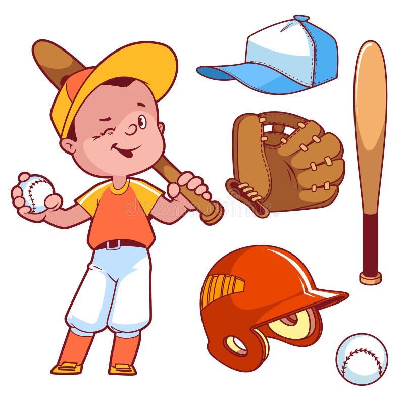 Giocar a baseballe del ragazzo del fumetto Attrezzatura di baseball illustrazione di stock