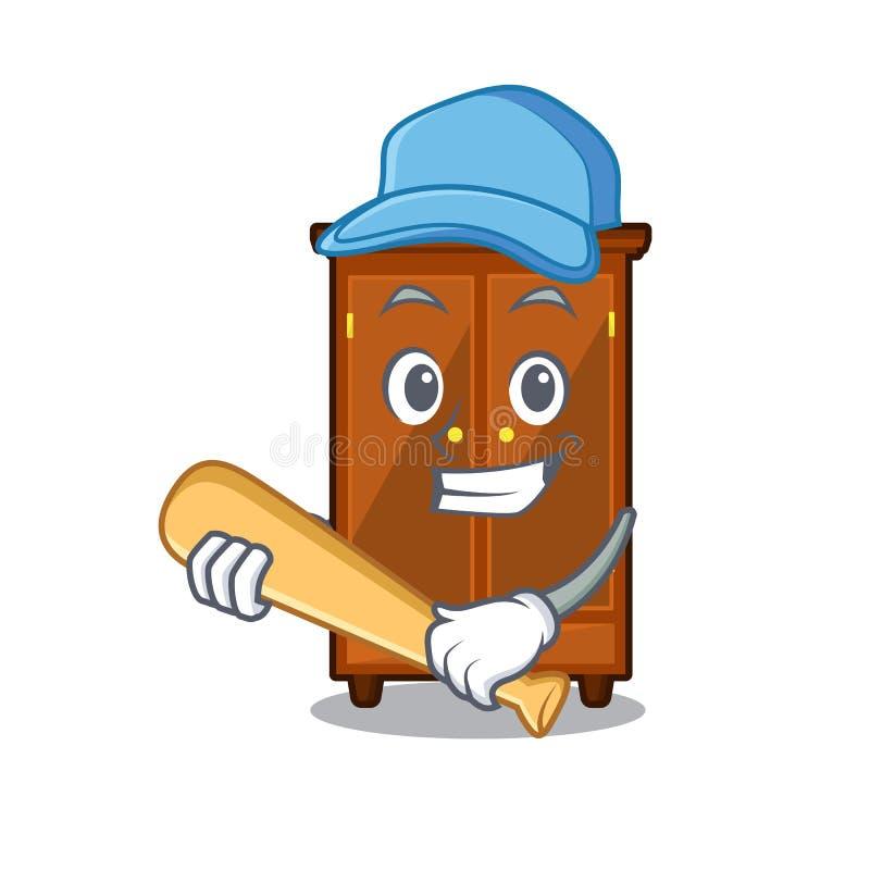 Giocar a baseballe guardaroba nella camera da letto della mascotte di a royalty illustrazione gratis