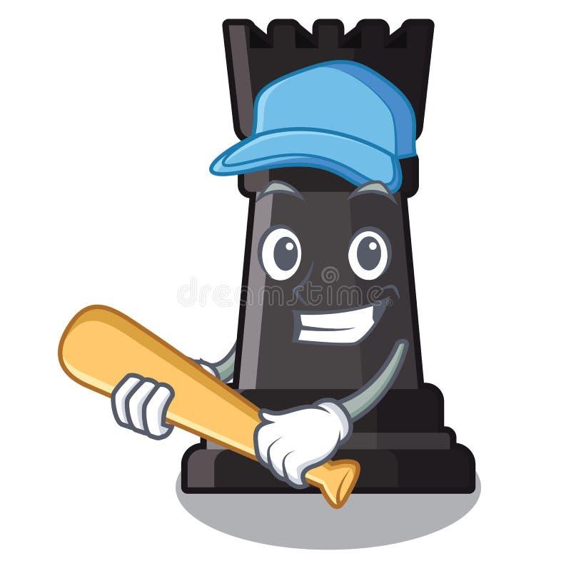 Giocar a baseballe i giocattoli di scacchi del corvo sopra la tavola del fumetto illustrazione vettoriale