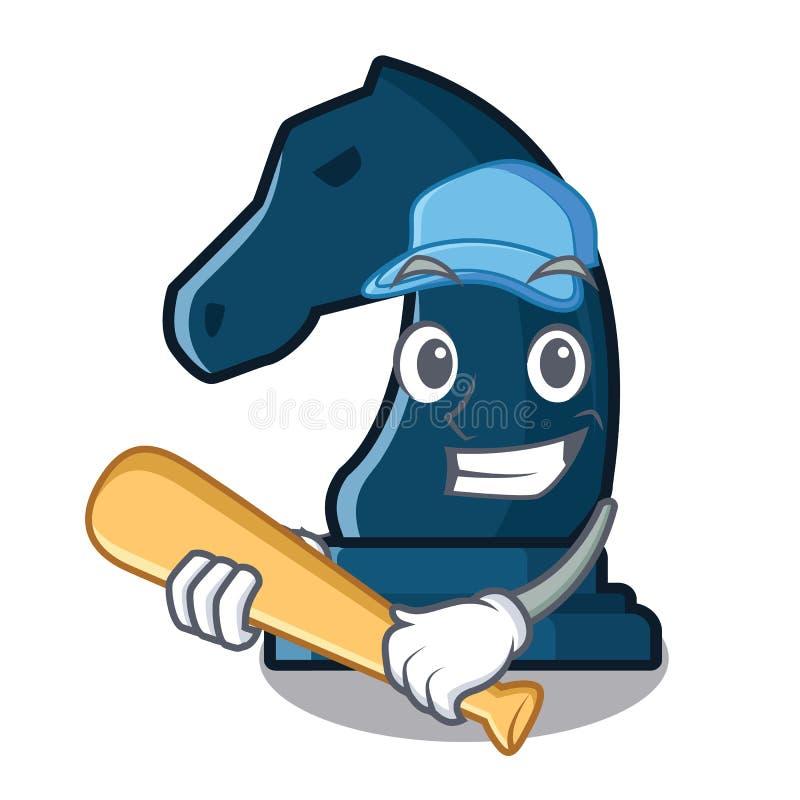Giocar a baseballe il cavaliere di scacchi nella forma della mascotte royalty illustrazione gratis
