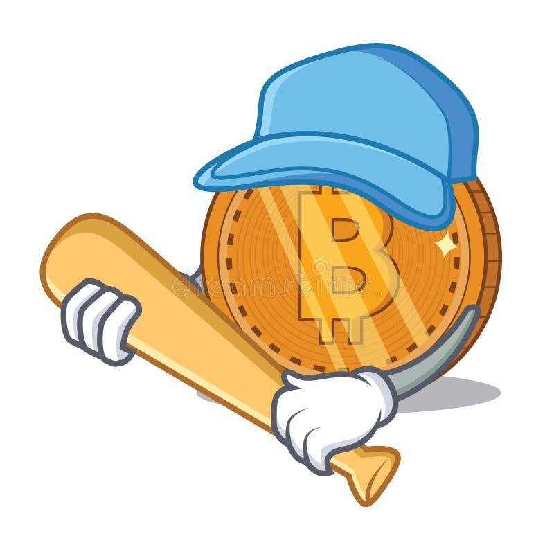 Giocar a baseballe il fumetto del carattere della moneta del bitcoin illustrazione di stock