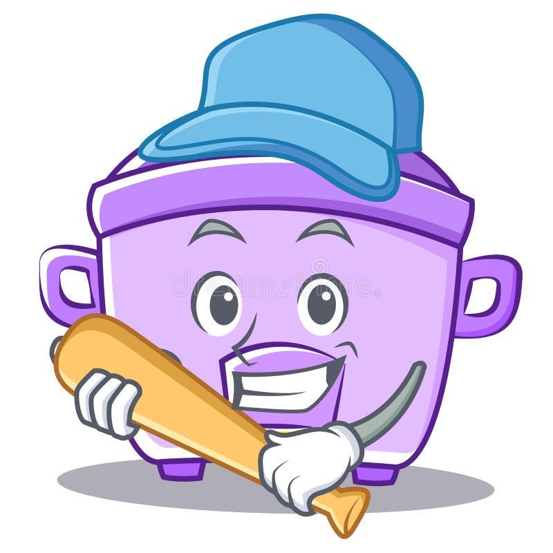 Giocar a baseballe il fumetto del carattere del fornello di riso illustrazione di stock