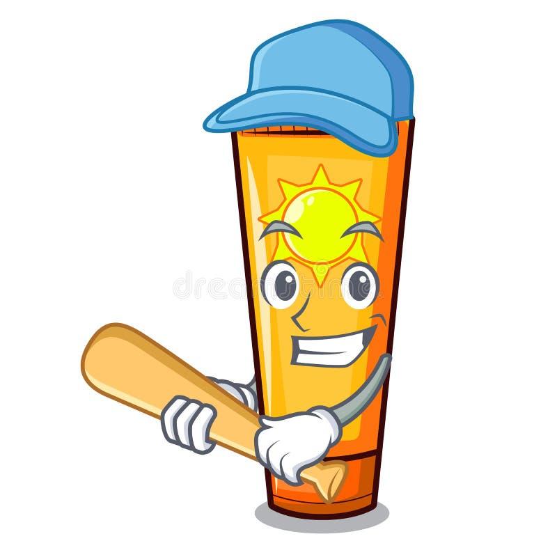 Giocar a baseballe la crema del sole nella forma della mascotte royalty illustrazione gratis