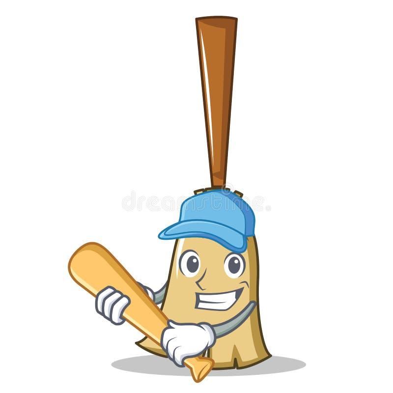 Giocar a baseballe stile del fumetto del carattere della scopa illustrazione vettoriale