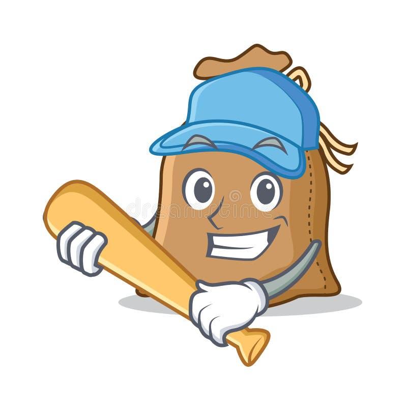 Giocar a baseballe stile del fumetto del carattere del sacco illustrazione di stock