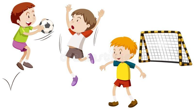 Giocar a calcioe di tre ragazzi illustrazione di stock