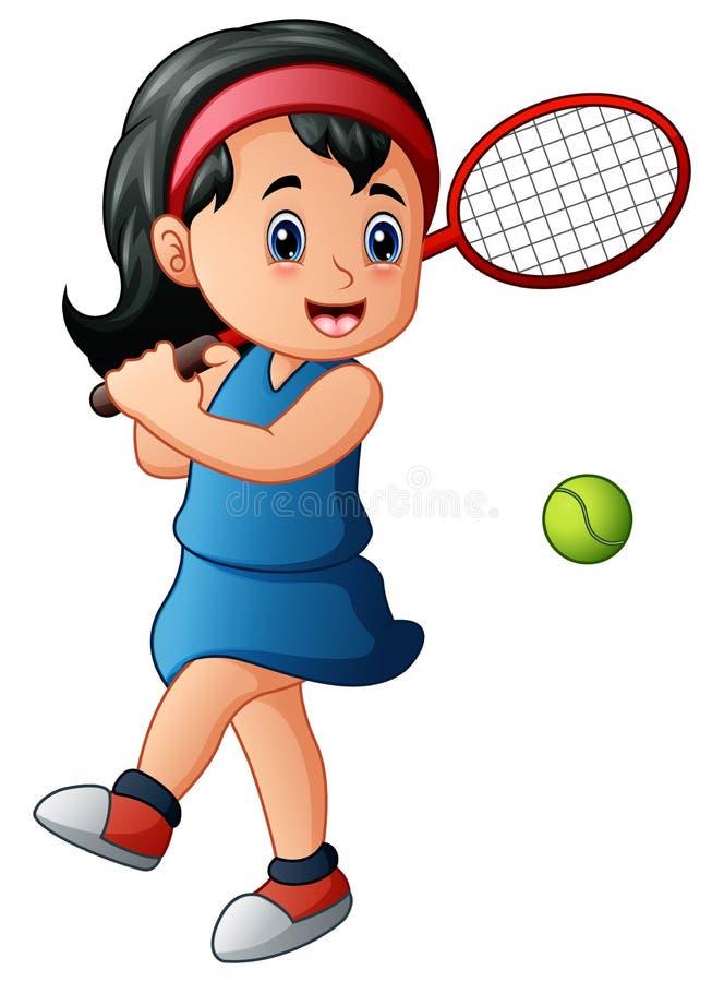 Giocar a tennise della ragazza del fumetto illustrazione di stock