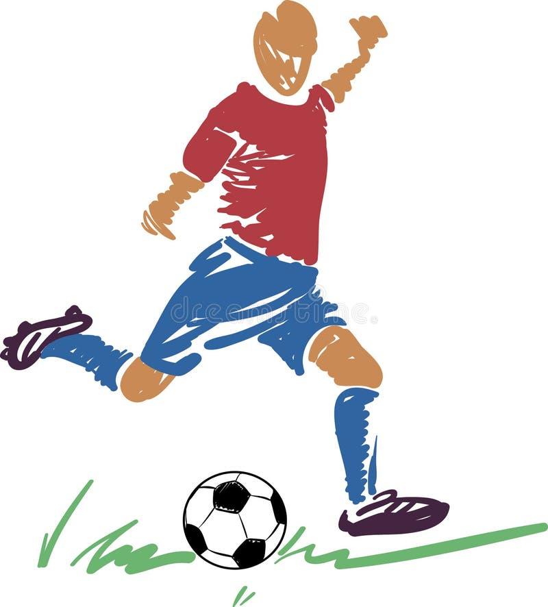 Giocatore astratto di calcio (gioco del calcio) con una sfera illustrazione di stock