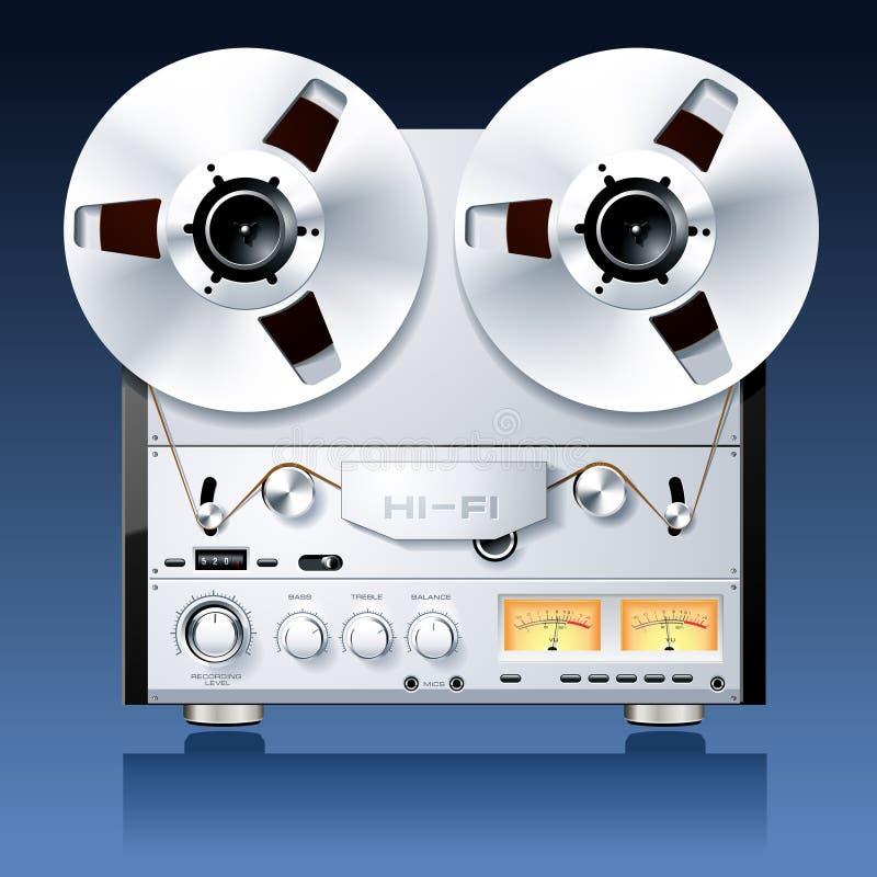 Giocatore bobina a bobina stereo della piastra di registrazione illustrazione vettoriale