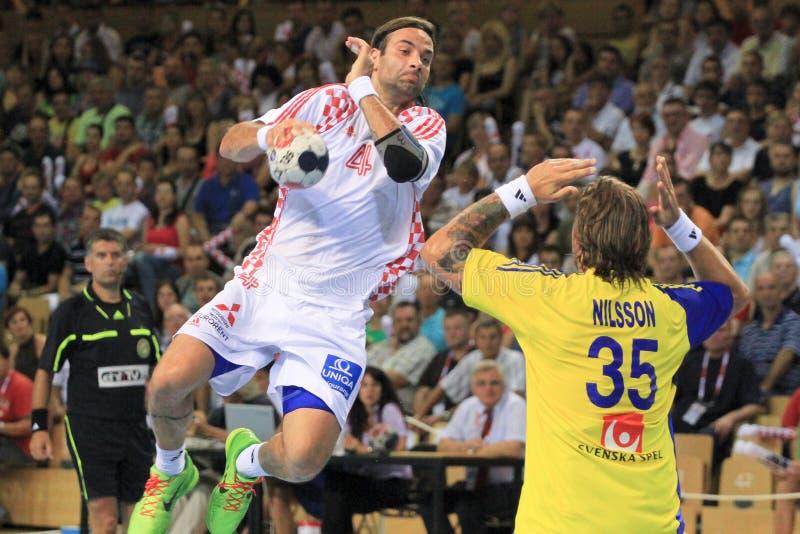 Giocatore croato Ivano Ballic di palla a muro fotografia stock