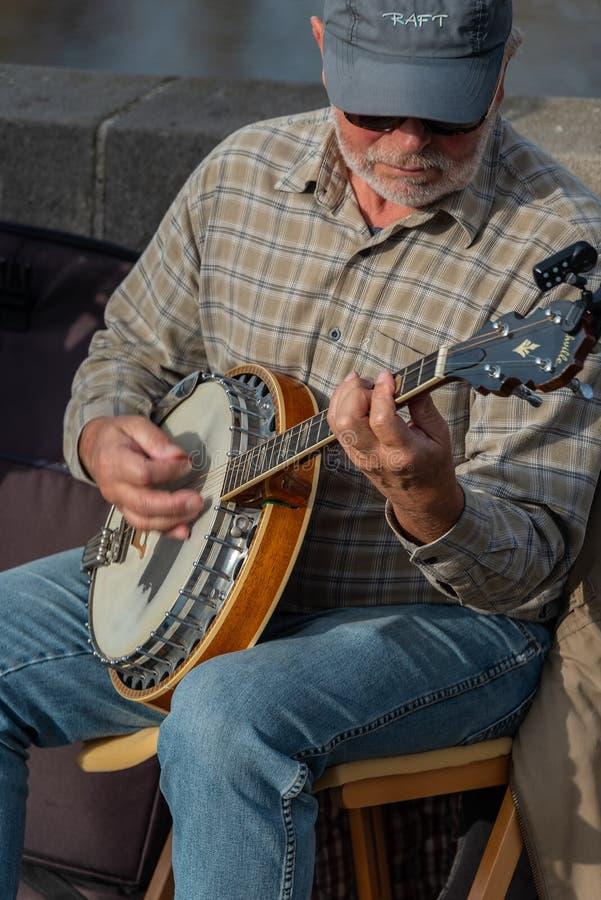 Giocatore del banjo a Charles Bridge, Praga fotografia stock