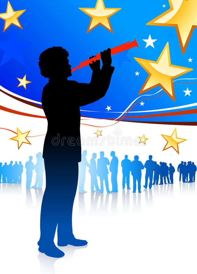 Giocatore del Clarinet su priorità bassa patriottica illustrazione vettoriale