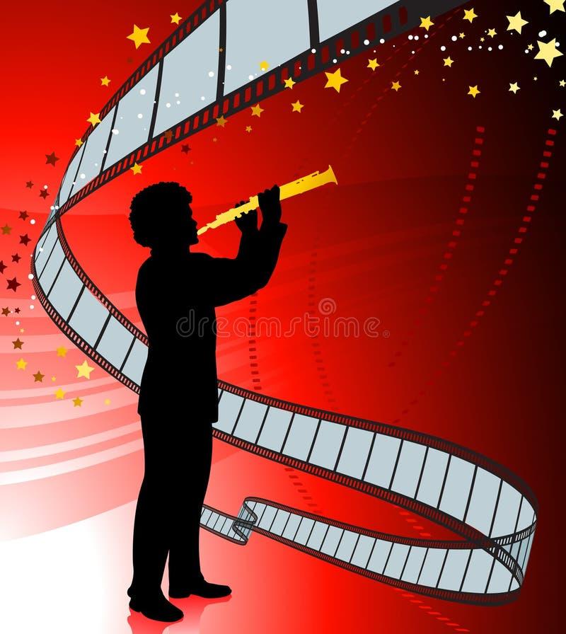 Giocatore del Clarinet sulla priorità bassa della bobina di pellicola royalty illustrazione gratis