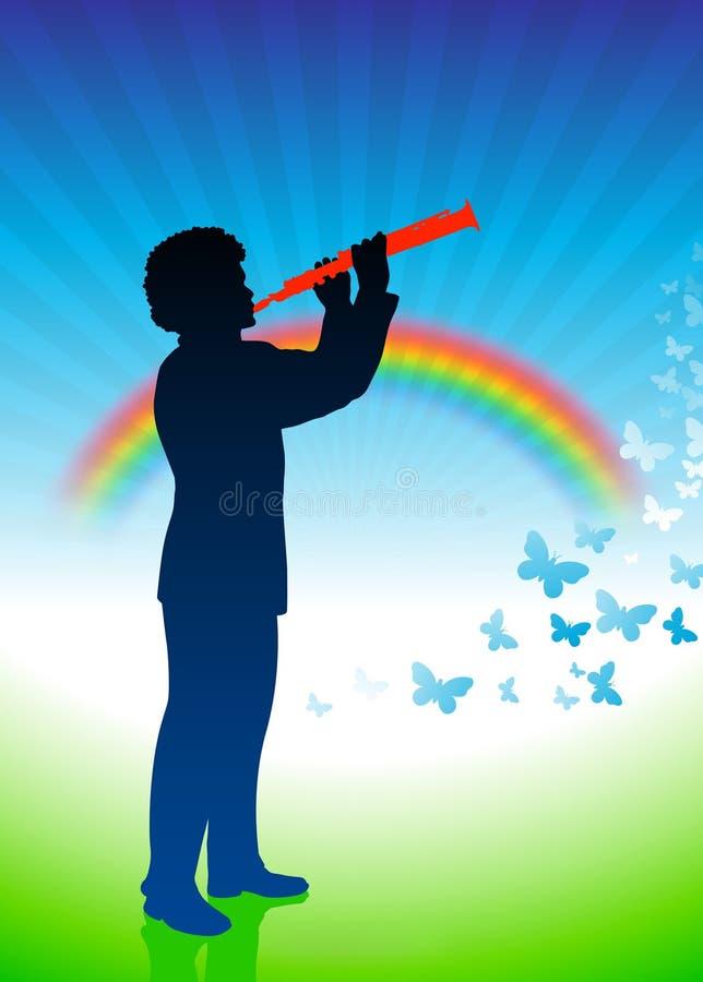 Giocatore del Clarinet sulla priorità bassa della natura illustrazione di stock