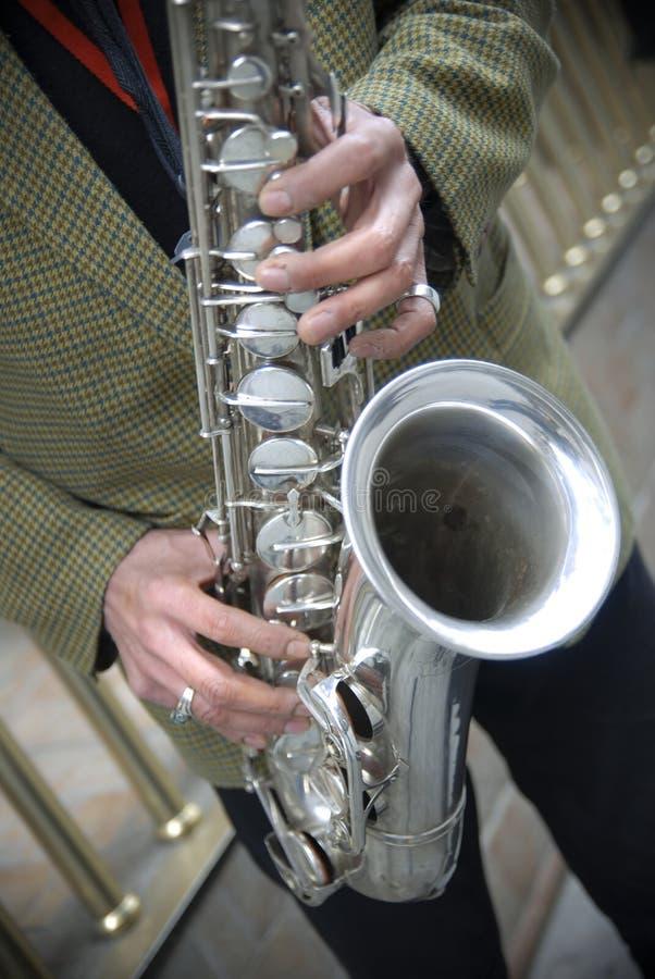 Giocatore del sassofono fotografie stock libere da diritti