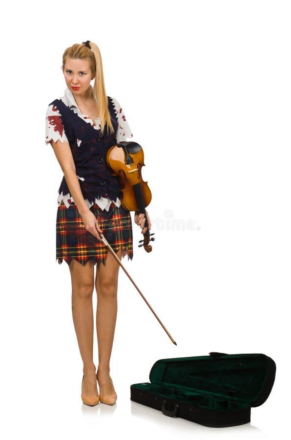 Giocatore del violino della donna isolato su bianco fotografie stock libere da diritti