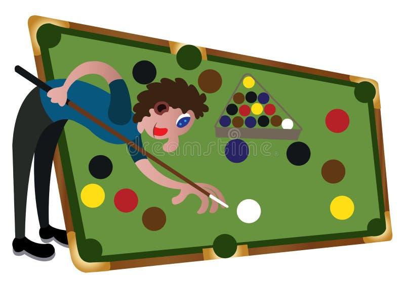 Giocatore dello snooker sulla tavola illustrazione vettoriale