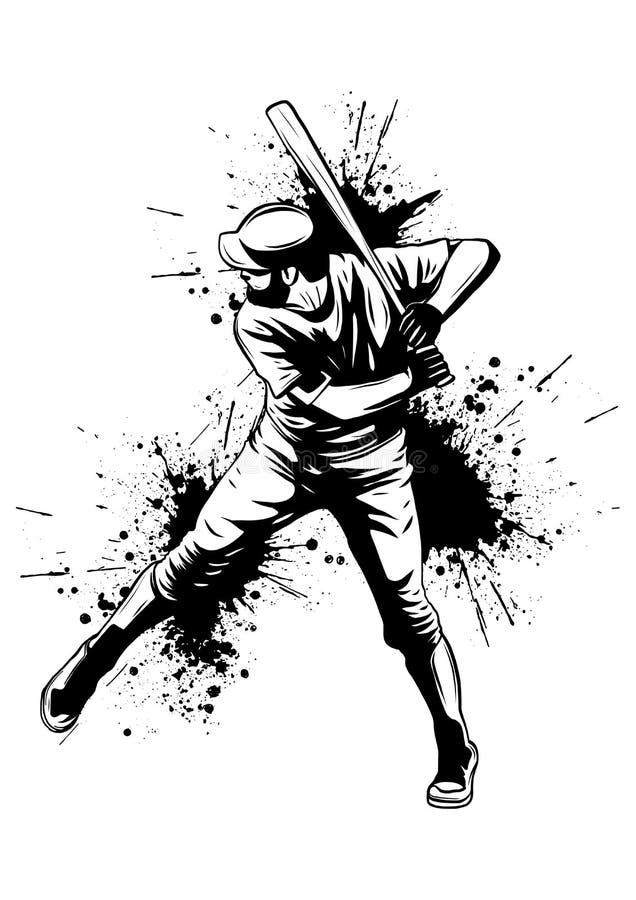 Giocatore di baseball, battitore che oscilla con il pipistrello, siluetta isolata astratta di vettore, disegno dell'inchiostro illustrazione di stock