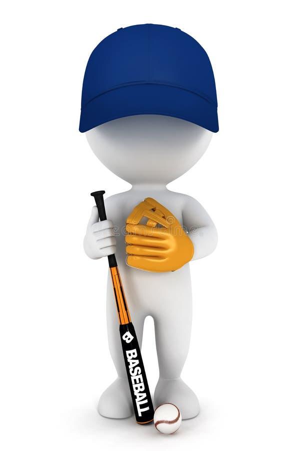 giocatore di baseball bianco della gente 3d illustrazione di stock