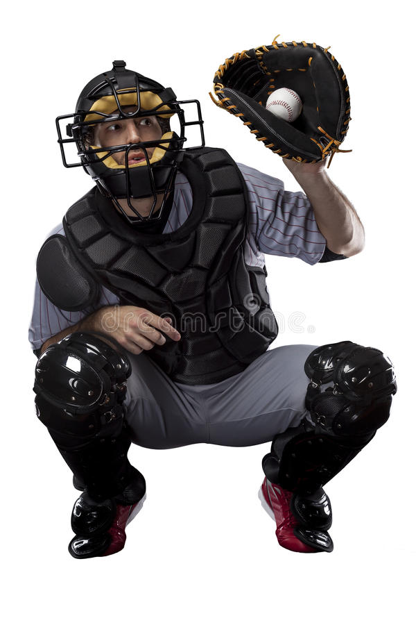 Giocatore di baseball del ricevitore fotografia stock