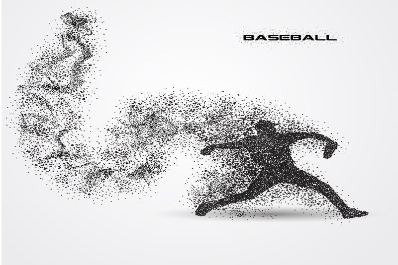 Giocatore di baseball di una siluetta dalla particella illustrazione vettoriale
