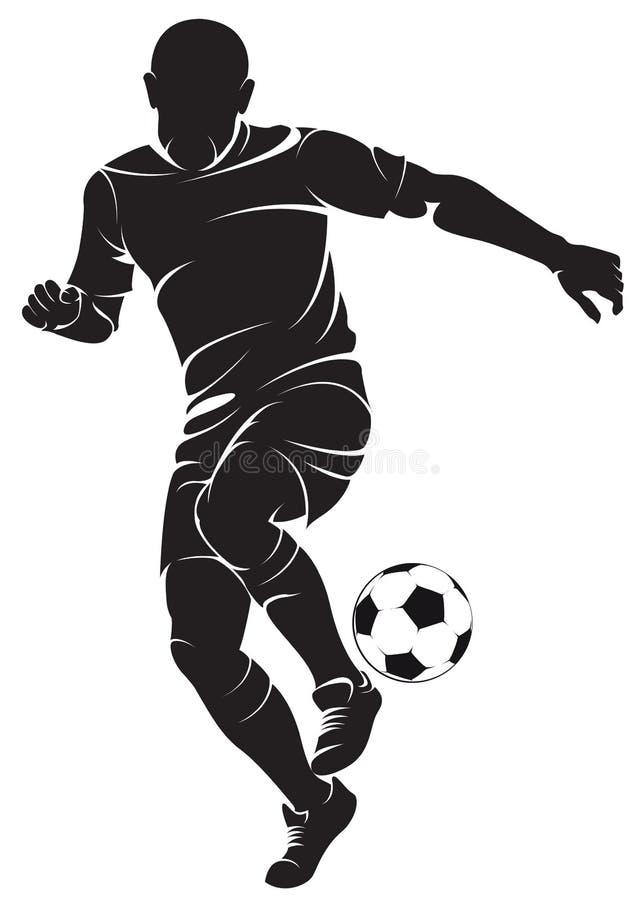 Giocatore di calcio (calcio) con la palla royalty illustrazione gratis