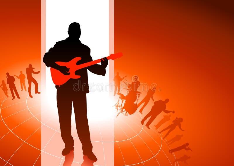 Giocatore di chitarra con la priorità bassa del gruppo musicale royalty illustrazione gratis