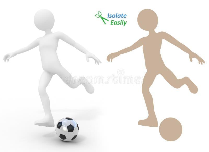 Giocatore di football americano che dà dei calci alla sfera illustrazione vettoriale