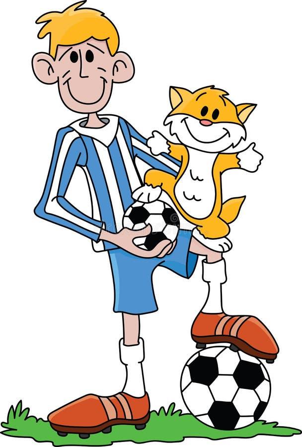 Giocatore di football americano del fumetto ed il suo vettore caro del gatto illustrazione vettoriale