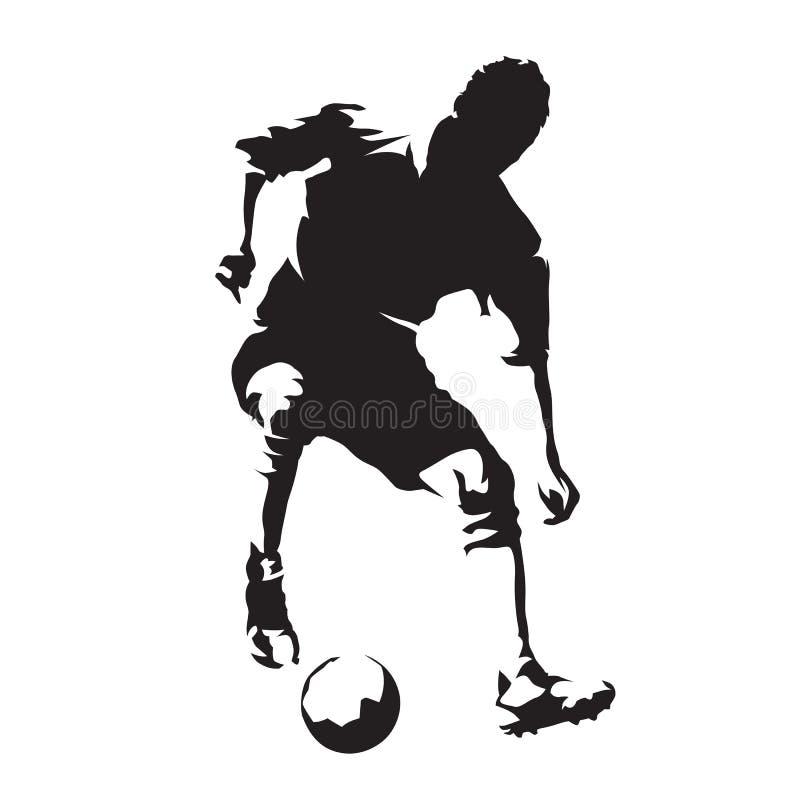 Giocatore di football americano europeo con la palla, calcio Silhoutte di vettore illustrazione vettoriale