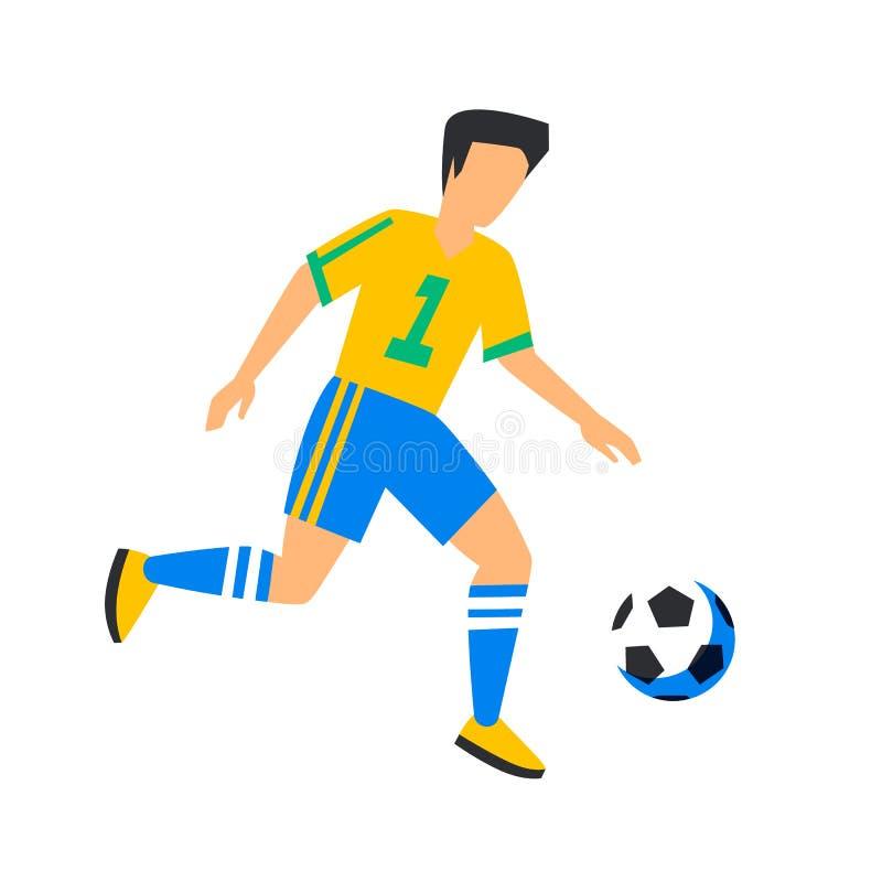 Giocatore di football americano giallo astratto con la palla Calciatore isolato su un fondo bianco Coppa del Mondo di calcio Calc illustrazione vettoriale