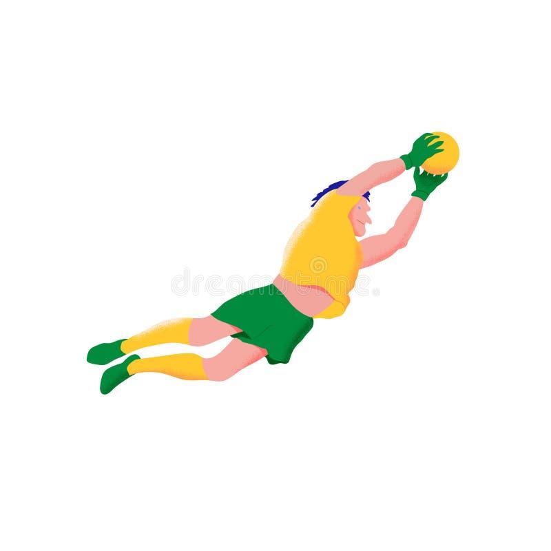 Giocatore di football americano Il portiere dell'uomo in camicia gialla e verde mette prendono la palla nella caduta Piano con l' royalty illustrazione gratis