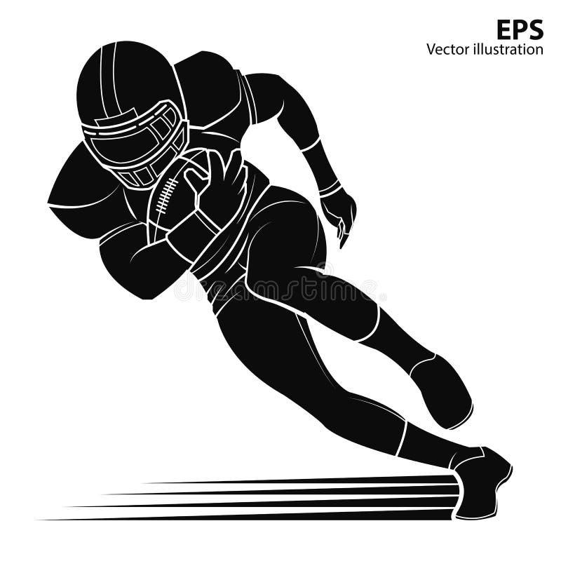 Giocatore di football americano, illustrazione di vettore della siluetta royalty illustrazione gratis